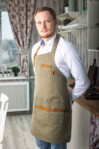 Asymmetry Men's Canvas Apron with Leather Inserts, colour: mugwort.