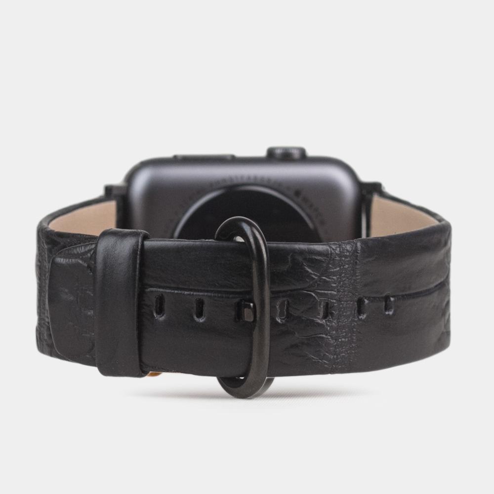 Ремешок из кожи аллигатора Niloticus черного цвета для черных Apple watch