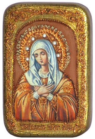 Инкрустированная Икона Умиление Серафимо-Дивеевская 15х10см на натуральном дереве, в подарочной коробке