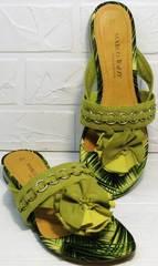 Красивые женские сандалии шлепки модные Marco Tozzi 2-27104-20 Green.
