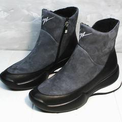 Зимние модные женские кроссовки на танкетке Jina 7195 Leather Black-Gray