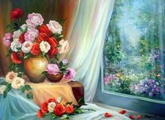 Картина раскраска по номерам 40x50 Цветы у окна