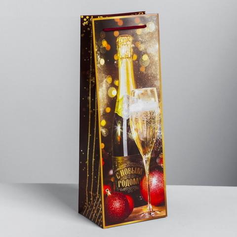 Пакетов  под бутылку Новогодний бокал  13 × 36 × 10 см