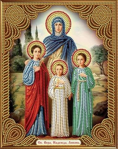 Алмазная Мозаика 30x40 Святая Вера, Надежда, Любовь (арт. AS72611)