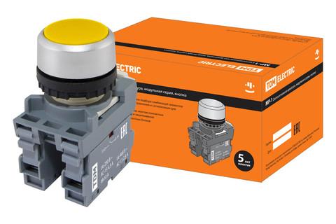 Кнопка MP1-20Y в сборе d22мм 1з+1р желтая TDM