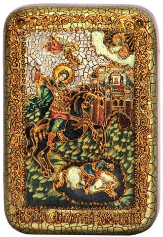 Инкрустированная икона Чудо великомученика Димитрия Солунского о царе Калояне 15х10см на натуральном дереве, в подарочной коробке