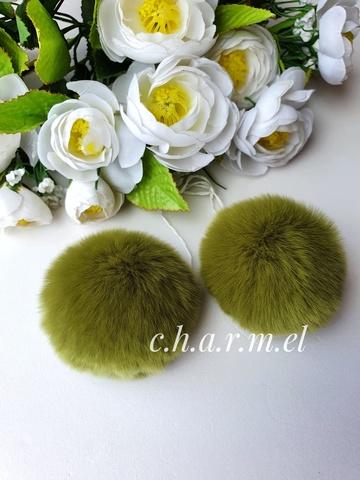 Помпон из натурального меха, Кролик, 5-6 см, цвет Оливка, 2 штуки