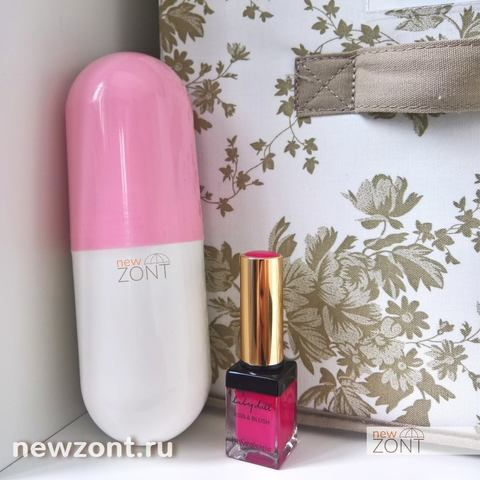 Компактный женский зонт капсула розовый с черным