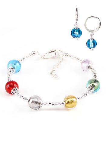 Комплект Carnavale Argento (браслет и серьги Piccolo голубые)