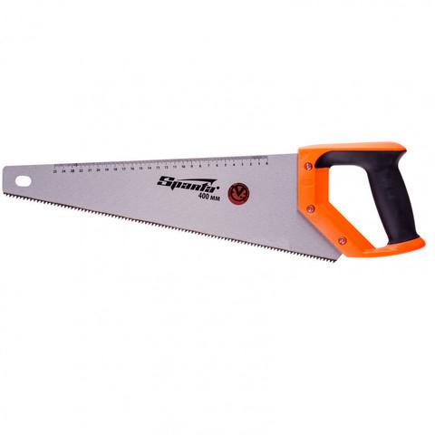 Ножовка по дереву, 400 мм, 7-8 TPI, зуб 2D, каленый зуб, линейка, двухкомпонентная рукоятка Sparta