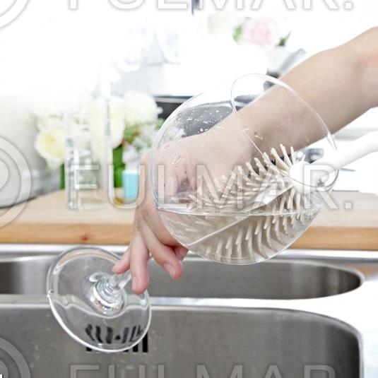 Цилиндрический силиконовый ершик для бокалов и стаканов Boomjoy фото