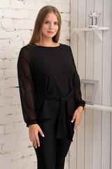 Иветта. Блуза Pluse Size с прозрачным рукавом. Черный