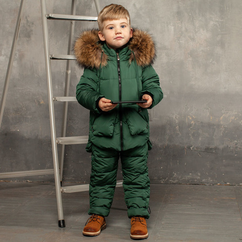 Детский зимний костюм зеленого цвета из водоотталкивающей плащевки
