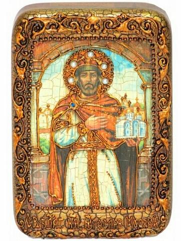 Инкрустированная Икона Святой Благоверный князь Ярослав Мудрый 15х10см на натуральном дереве в подарочной коробке