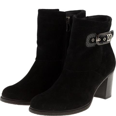638409 Полусапожки женские замша черные. КупиРазмер — обувь больших размеров марки Делфино
