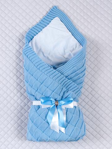 Вязаный конверт одеяло Лапушка (голубой)