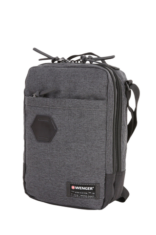Сумка наплечная вертикальная WENGER, cерая, ткань Grey Heather/ полиэстер 600D PU , 19х11х28 см, 6 л