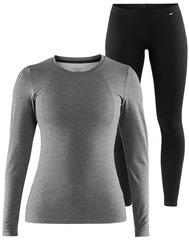 Комплект термобелья Craft Essential Warm Low Neck Grey-Black женский