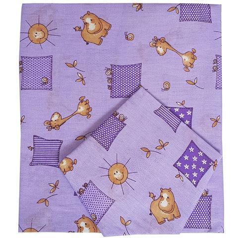Папитто. Комплект постельного белья для новорожденных из бязи Жирафики, сиреневый