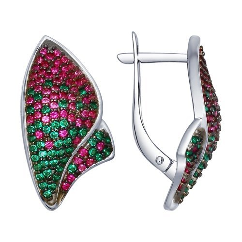 Серьги из серебра с зелеными и красными фианитами