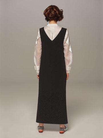 Женское шерстяное платье черного цвета без рукавов - фото 4