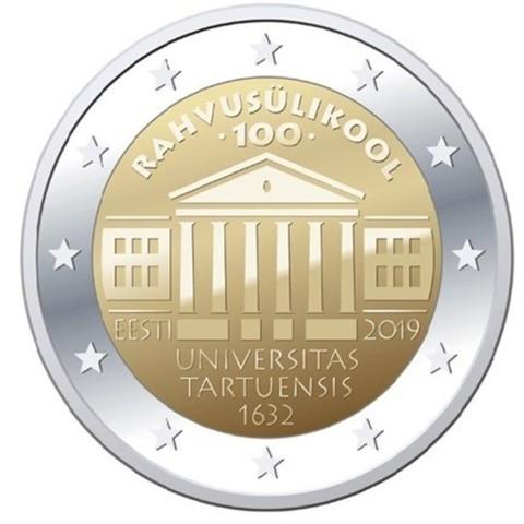2 евро. 100-летие Тартуского университета. Эстония. 2019 год