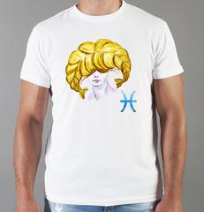 Футболка с принтом Знаки Зодиака, Рыбы (Гороскоп, horoscope) белая 0063