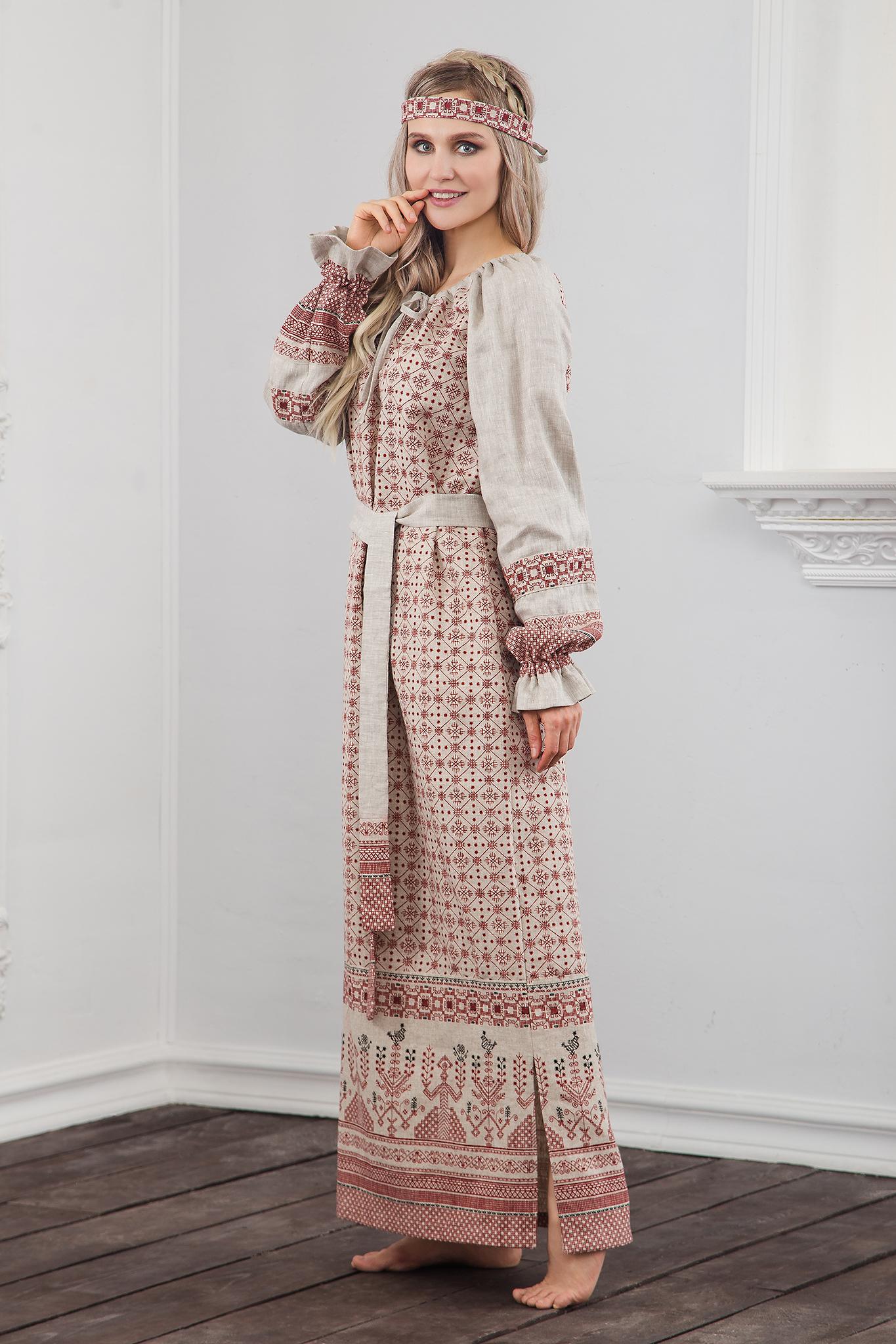 Славянское платье Берегиня вид сбоку
