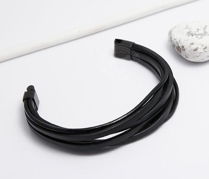 BM498 Браслет из кожаных шнуров со стальной застежкой (21 см) фото 03