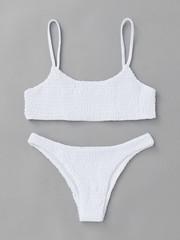 Купальник раздельный белый бикини жатый  2