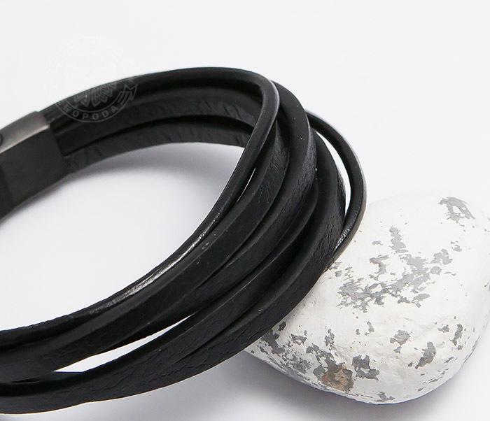 BM498 Браслет из кожаных шнуров со стальной застежкой (21 см) фото 04