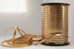 Лента с золотой полоской (0,5см*250ярд) Бронза