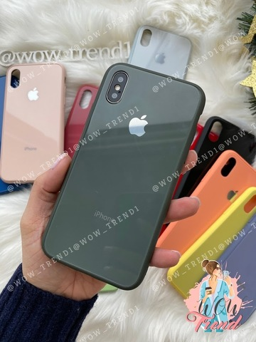 Чехол iPhone XS MAX Glass Pastel color Logo /forest green/
