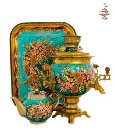 Самовар электрический «Осенний желудь» формой овал 3л в наборе с подносом и чайником
