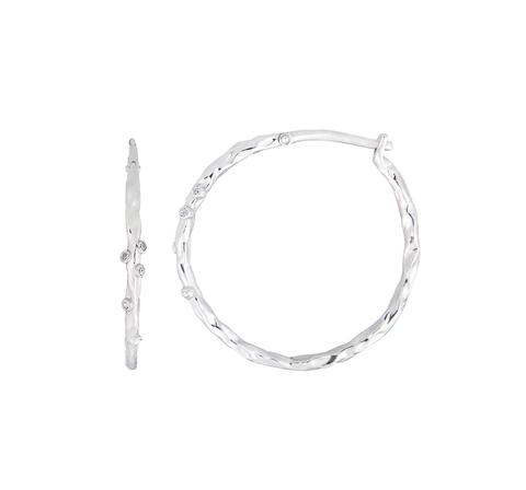 Серьги-кольца фактурные с белыми топазами
