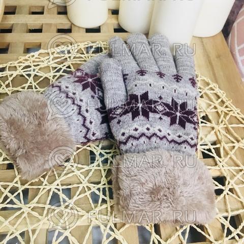Перчатки со снежинками шерстяные женские (цвет: светло кофейный)