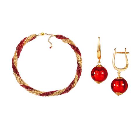 Комплект украшений золотисто-красный №1 (серьги-бусины, ожерелье из бисера 24 нити)