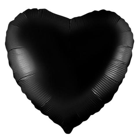 Шар сердце черный, 45 см