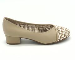Туфли бежевые из искусственной кожи с плетеными вставками
