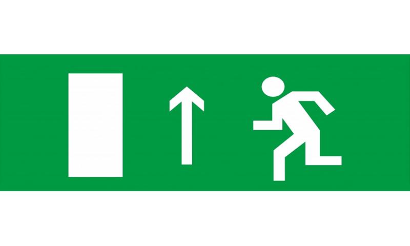 Знак для табло направления движения – К ЭВАКУАЦИОННОМУ ВЫХОДУ ЛЕВОСТОРОННИЙ