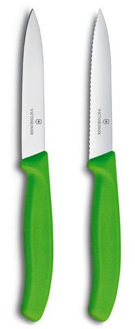Набор Victorinox кухонный, 2 предмета, лезвие прямое и волнистое, зеленый