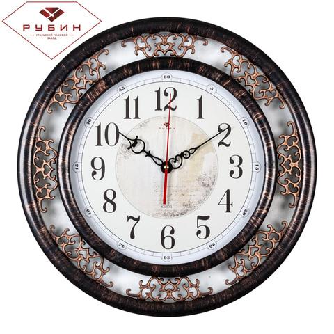 4545-006 (5) Часы настенные круг d=45 см, корпус черный с бронзой