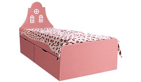 Детская кровать кораллового цвета