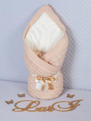 Зимний вязаный конверт одеяло (капучино)