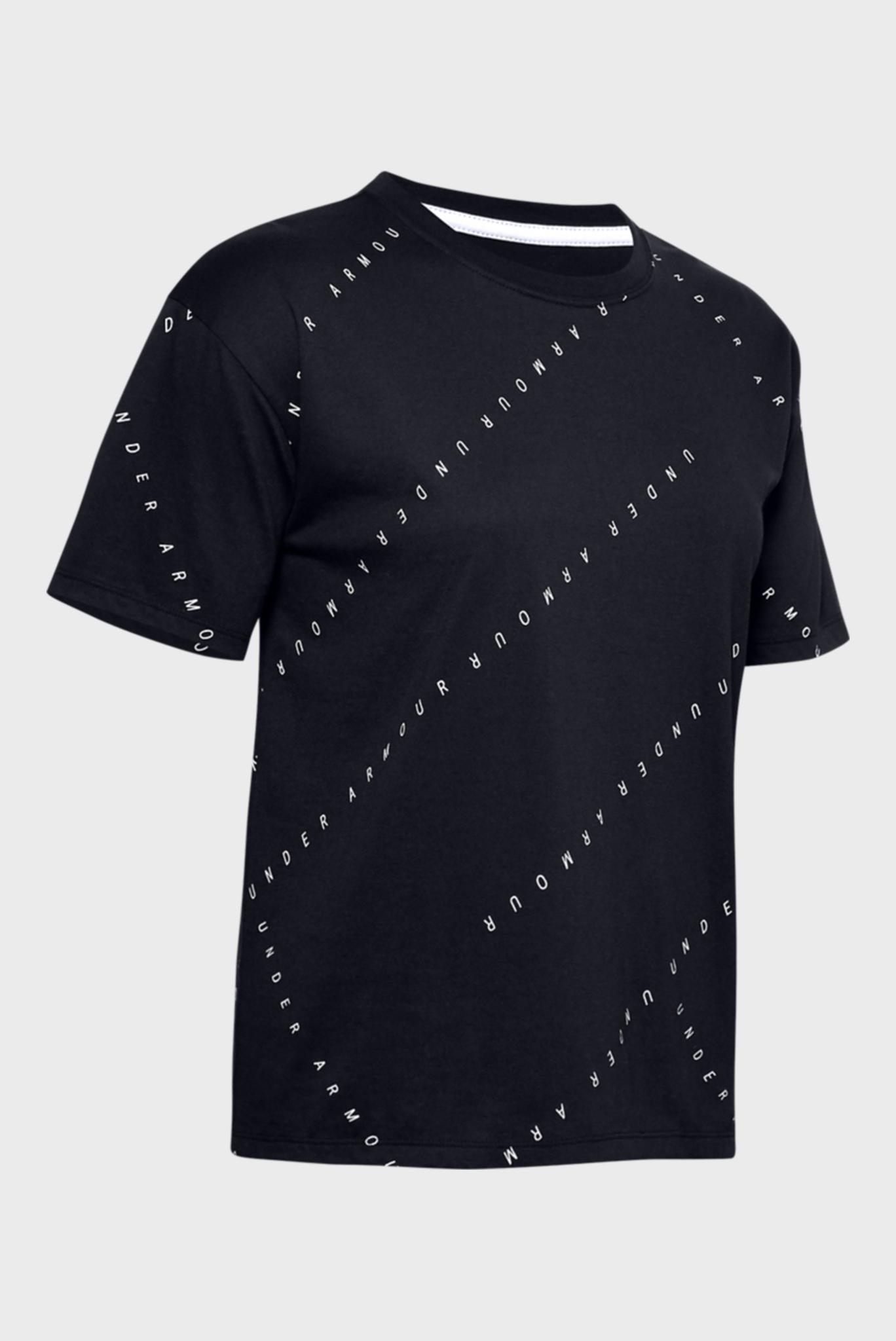 Женская черная спортивная футболка UA Logo Print Live Short Sleeve Under Armour