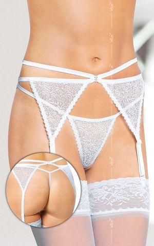 Ажурные подвязки для чулок и стринги (белые)