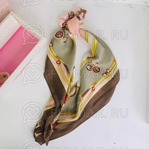 Платок с резинкой модный аксессуар для волос (цвет: розовый, коричневый)