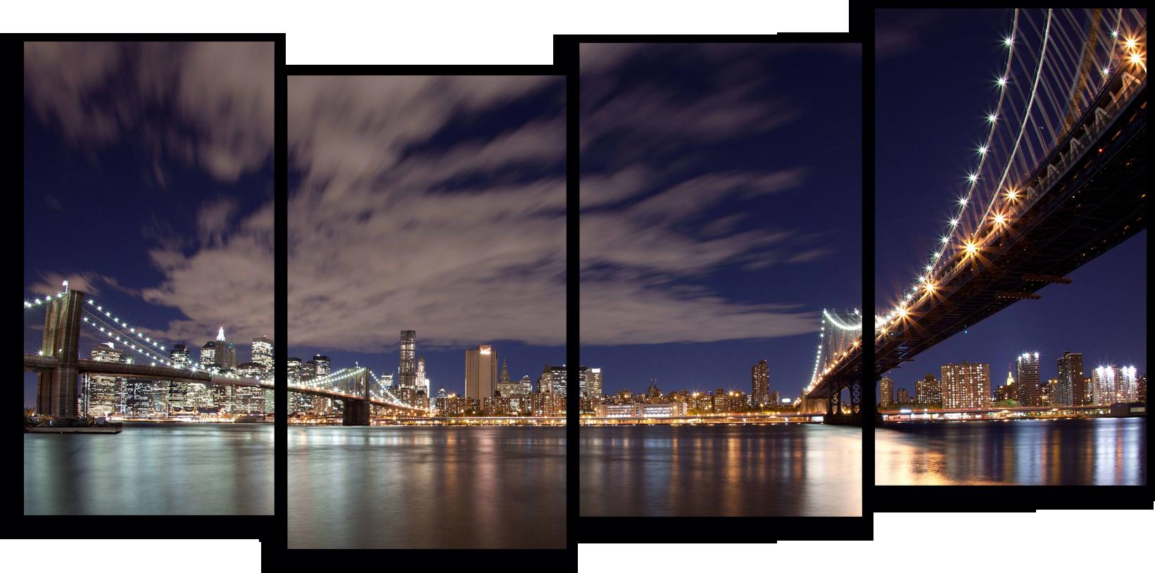 """Города Модульная картина """"Ночной Бруклинский мост """" М791.png"""