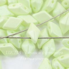 Бусина DiamonDuo Ромб с 2 отверстиями, 8х5 мм, светло-салатовая матовая (светится в темноте)