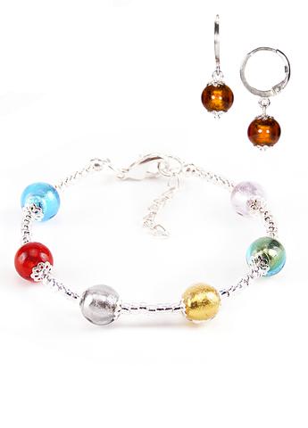 Комплект Carnavale Argento (браслет и серьги Piccolo янтарно-бронзовые)